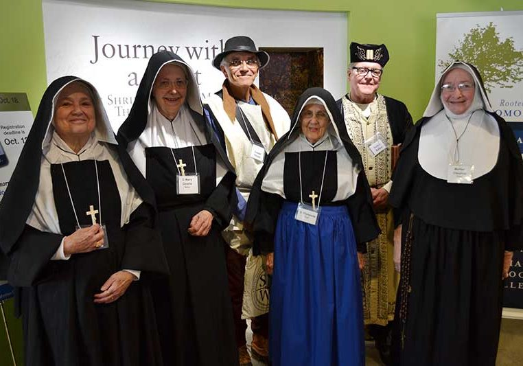 2015: Sister Rosemary Nudd as Saint Mother Theodore Guerin (from left), Sister Ann Casper as Sister Mary Cecilia Bailly, Carl Bender as Joseph Thralls, Sister Rita Clare Gerardot as Sister Olympiade Boyer, Providence AssociateCharles Fischer as Father Buteux and Sister Martha Wessel as Mother Mary Cleophas Foley.